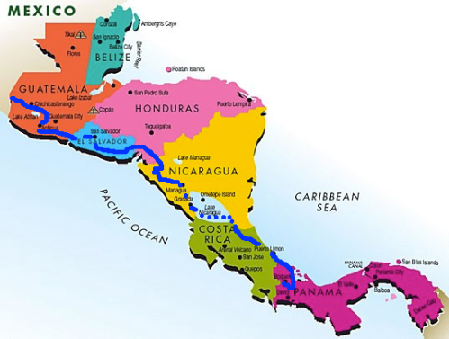 Travel map through centro. Entered Guatemala on January 14th 2013 posted this map in Boquete Panama March 9th 2014