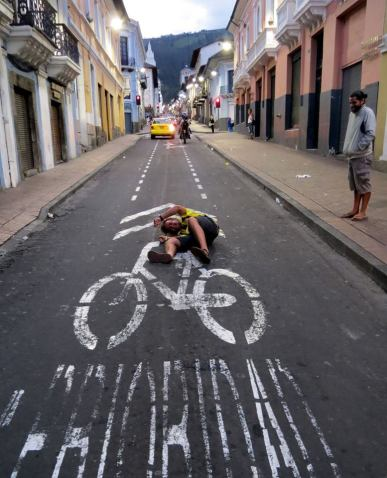 biking around Quito's Centro Historico