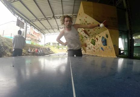 ping pong at the climbing wall!
