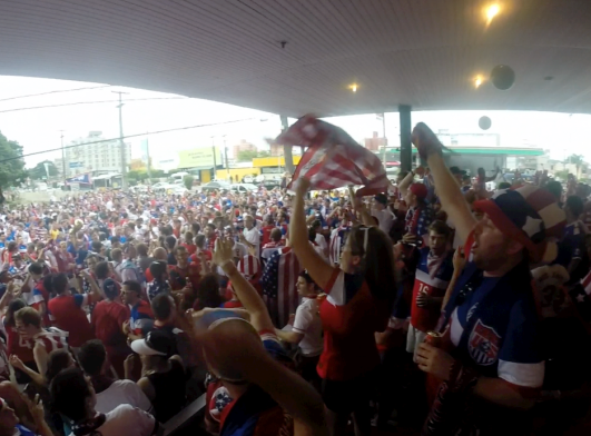 USA fans gather before kickoff